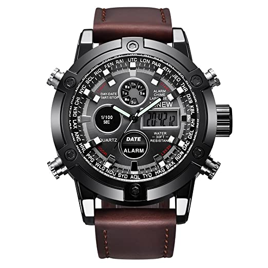VEHOME Reloj Deportivo de Lujo para Hombres - Correa de Cuero - Pantalla analógica Digital LED-Relojes relojero Inteligente Reloj reloje hombresRelojes de ...