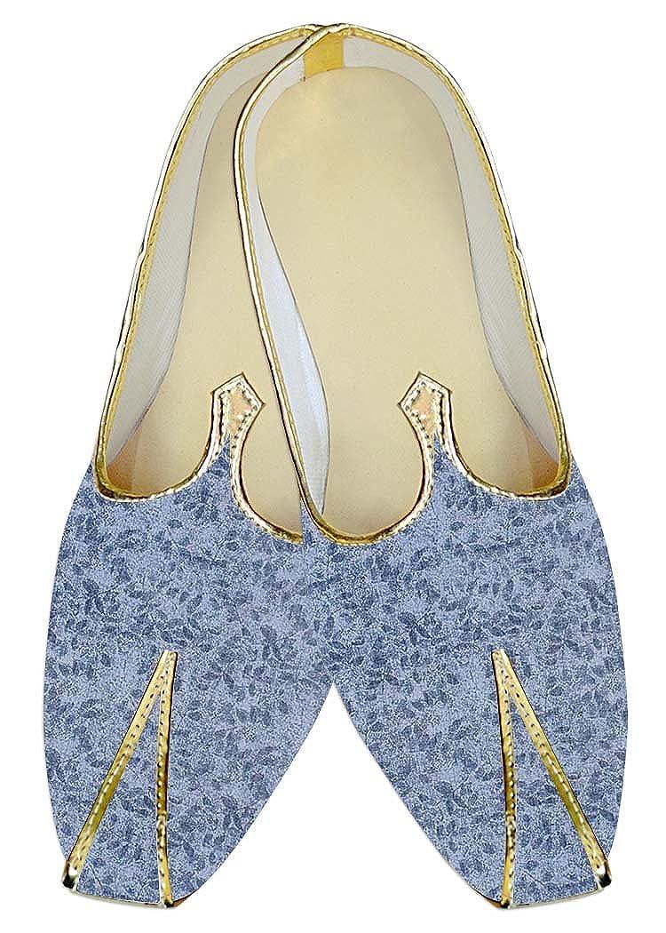 INMONARCH Hombres Boda Zapatos Azul Cielo, Patrón de Hojas MJ016008 37 EU
