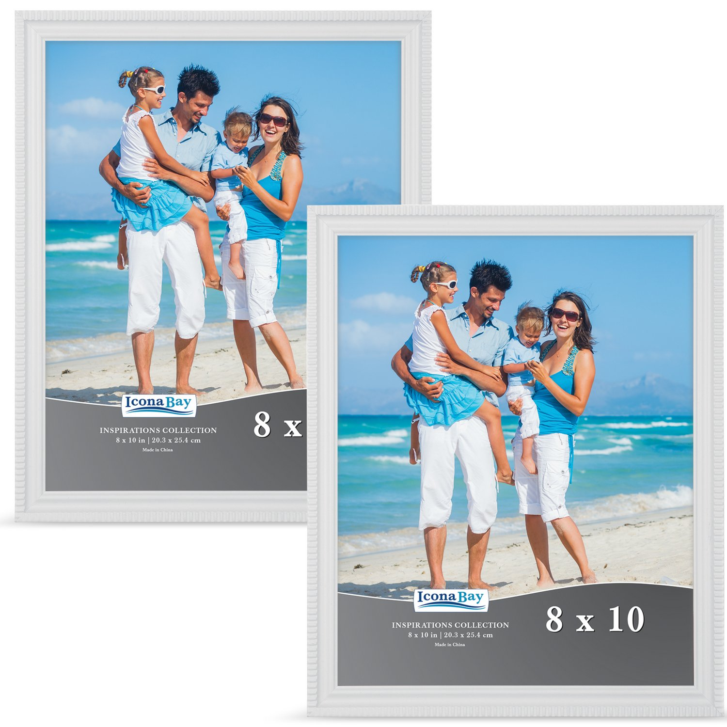 Icona Bay 8x10 Picture Frame Set (Set of 2), White Frame, Photo Frame Set for Wall or Table Top, Photo Frames 8x10 Set, Inspirations Collection