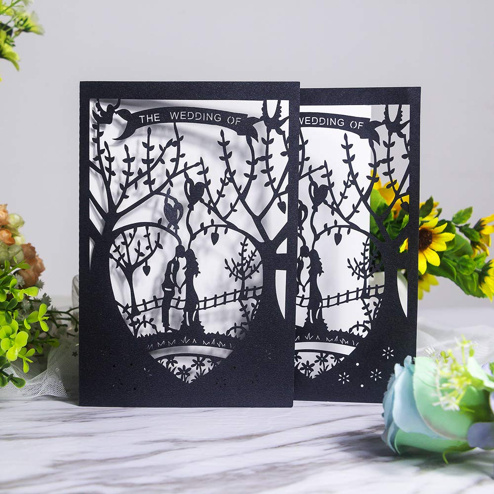 Laser Cut Printable Wedding Invitation Kits - 25pcs 4.7'' x 7'' Black Love Tree Wedding Invitations Cards with Printable Paper and Envelopes for Engagement Marriage Bridal Shower Anniversary by JOLALIA (Image #3)