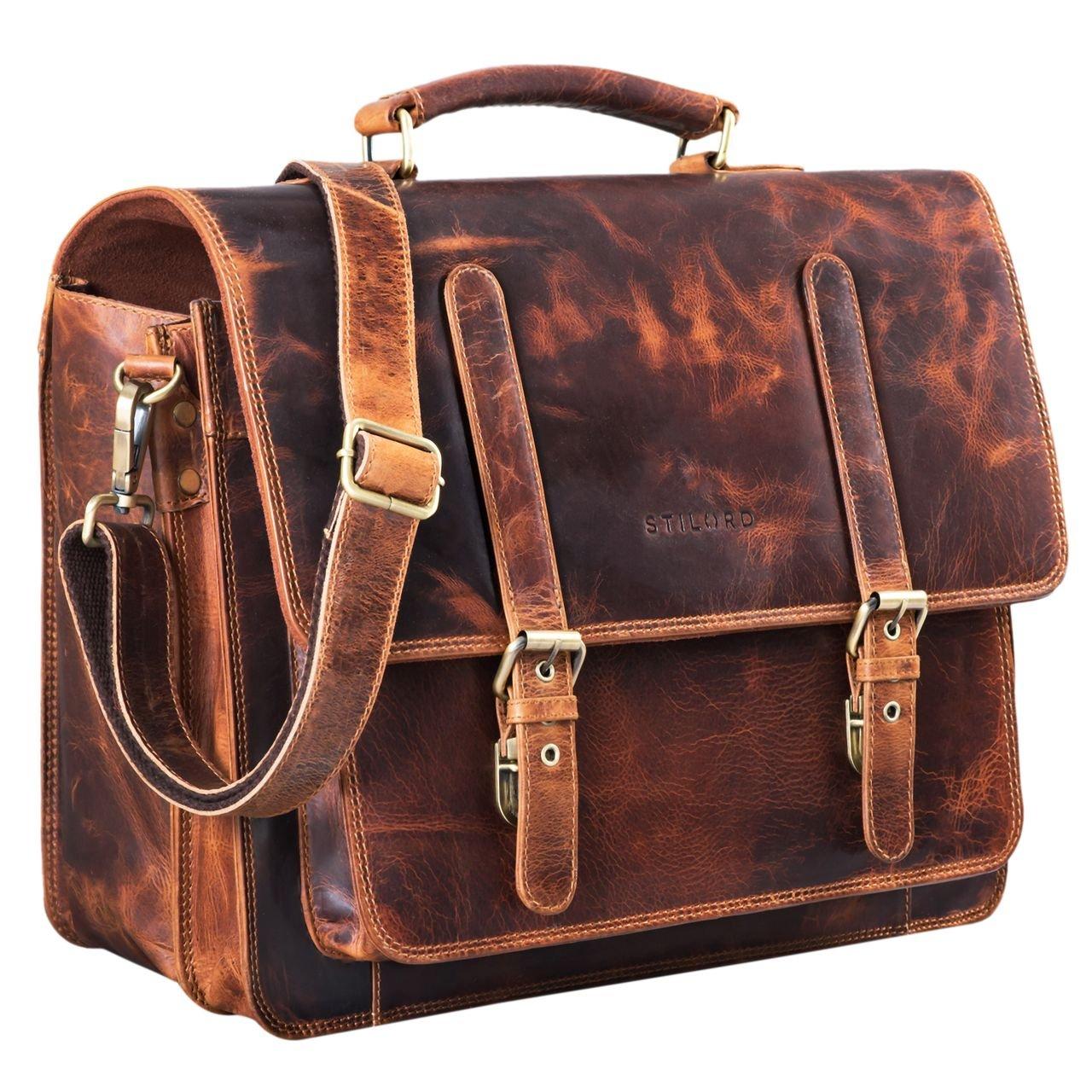 STILORD 'Andro' Lehrer Aktentasche Leder Vintage Umhängetasche mit 14 Zoll Laptop Fach Businesstasche für breite DIN A4 Akten Ordner aus echtem Leder, Farbe:dunkel - braun