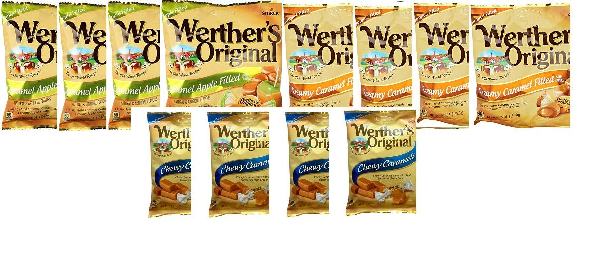 12 Pack Werther's Variety ( Creamy Caramel /Caramel Apple/Chewy Caramel)Four 5 oz Each