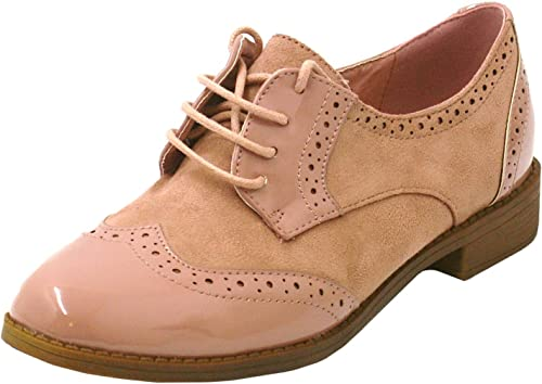 Brogues Shoes-Pink Patent/Suede-UK