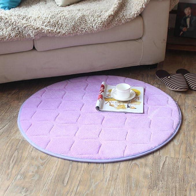 DCY Rug De Espesor Redondeado lentos esteras de Rebote Cojines informáticos de Yoga esteras alfombras - púrpura, Diameter 80cm: Amazon.es: Hogar