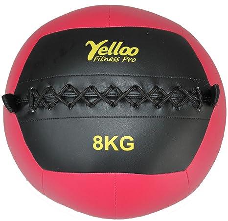 Wall Ball Balón medicinal Gimnasio sintética negra roja 8 kg ...