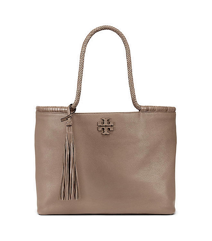 5b1924de7d39d Amazon.com  Tory Burch Taylor Tote Women s Leather Large Handbag (Silver  Maple)  Clothing