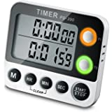 MOCOFI デジタルタイマー 大画面タイマー 100時間 2つのタイマーを設定可能 大音量アラーム 料理用 時分秒設定 壁掛け/スタンド/マグネット付