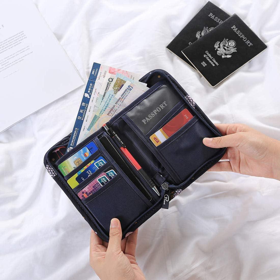 Portafoglio da viaggio Portafoglio Porta documenti Porta passaporto con protezione RFID Porta badge Porta carte di credito Borsa da viaggio Cartella da viaggio per uomo e donna