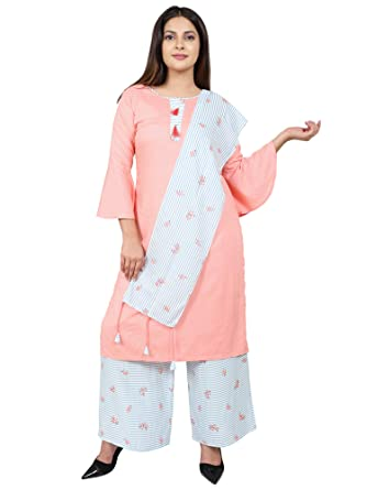 dc020e5abb Women's Rayon Salwar Suit Set With Palazzo Pants And Dupatta By Faunashaw:  Amazon.in: Clothing & Accessories
