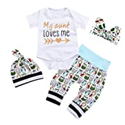 Newborn Baby Girls Owls Outfit Set 4pcs Unisex Baby Clothes My Aunt Loves Me (6-12 M, A)