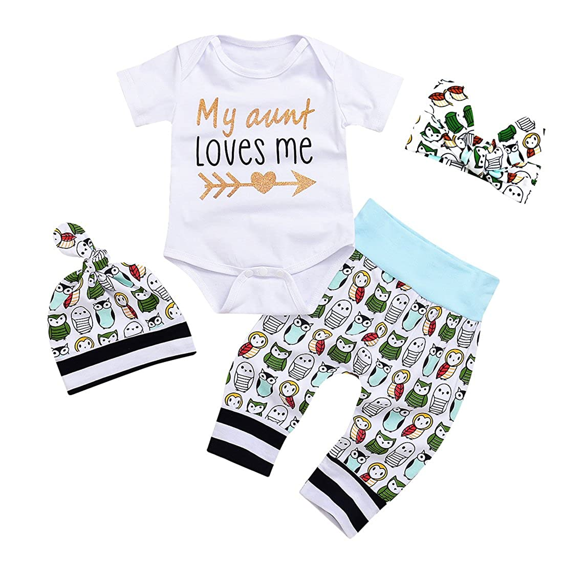 0abcd7333 Amazon.com  Newborn Baby Girls Owls Outfit Set 4pcs Unisex Baby ...