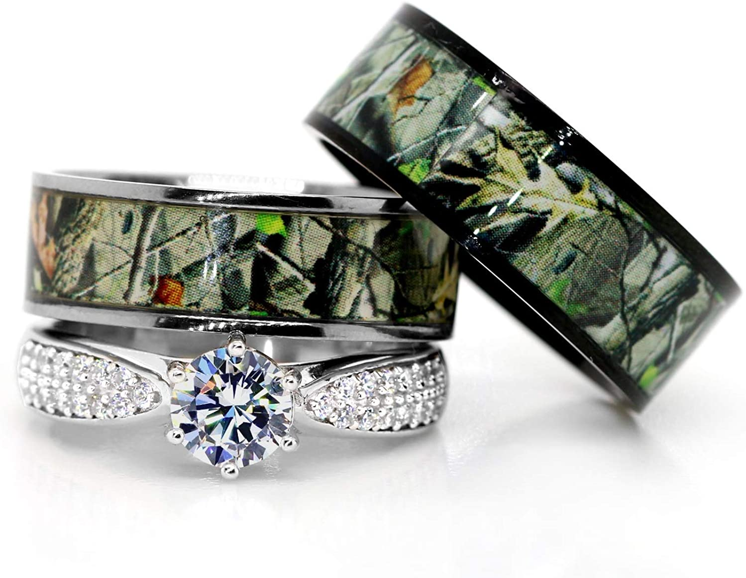 Kingsway Jewelry Mens & Womens Camo Engagement Wedding Rings Set Silver & Titanium