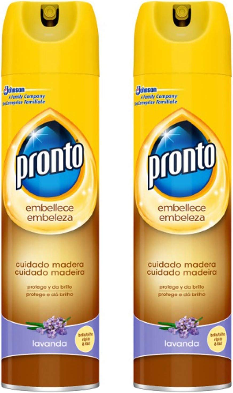 Pronto - Limpiador de Madera aroma Lavanda para muebles en spray - 300 ml [Pack de 2]