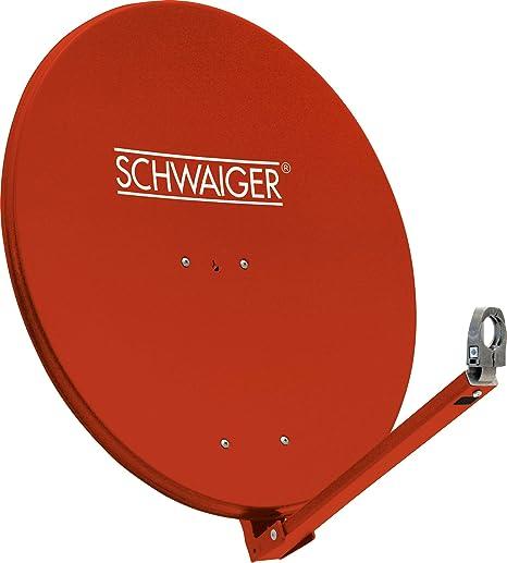 SCHWAIGER -234- Antena satelital | antena satelital con brazo de soporte LNB y montaje en el mástil | antena satelital de aluminio | rojo ladrillo | ...