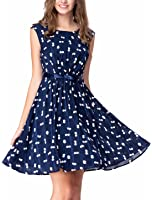 Noctflos Women's Polka Dot Navy Chiffon Pleated Bow Causal Dress