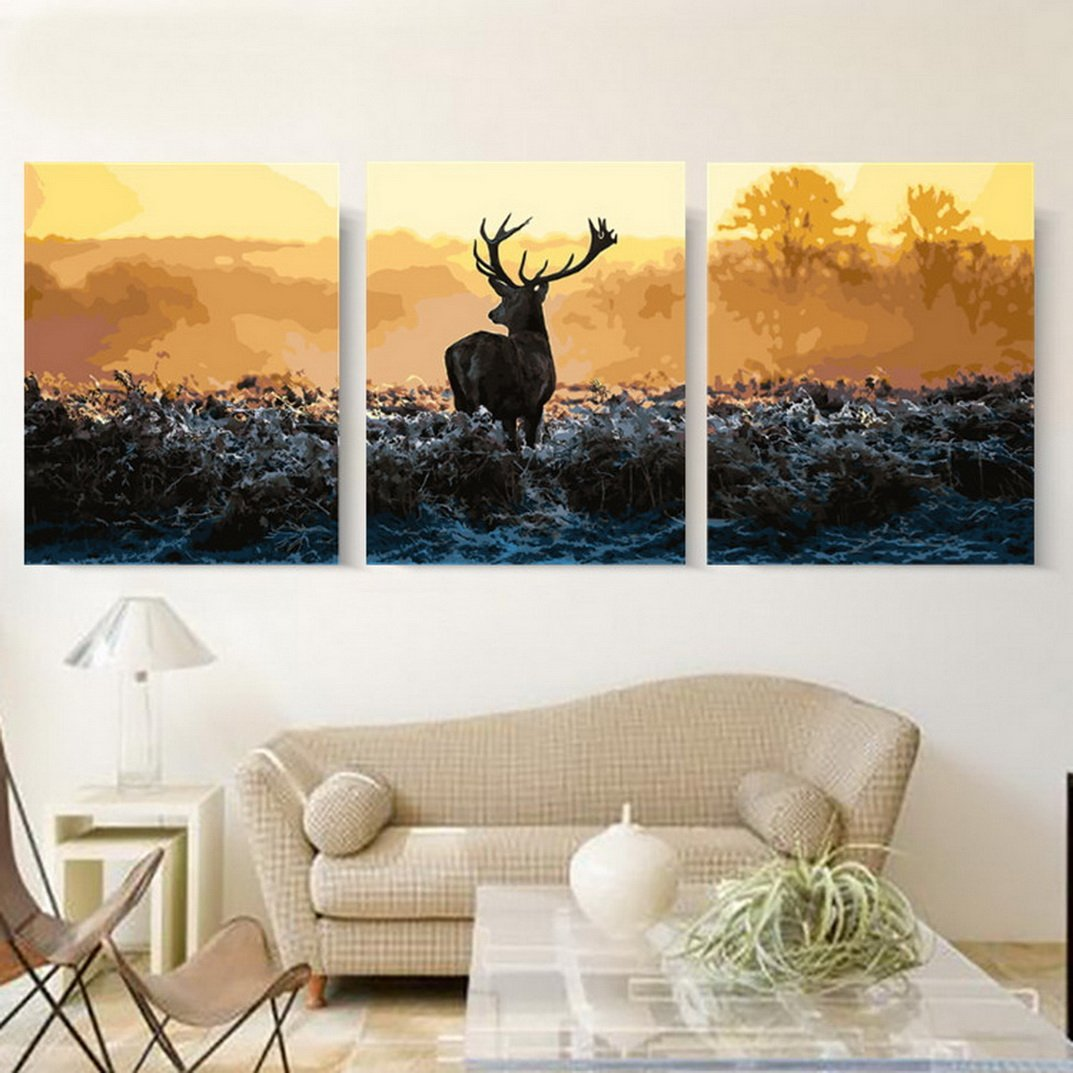 MailingArt 3 Pieces Wooden Framed Paint by Number No Mixing/No Blending Canvas DIY Painting (One Deer)