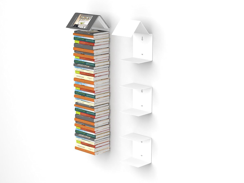 Home3000 Bookmark Regal 3er-Set mit unsichtbaren Bücherregalen in Weiss Bücherregal und Lesezeichen zugleich
