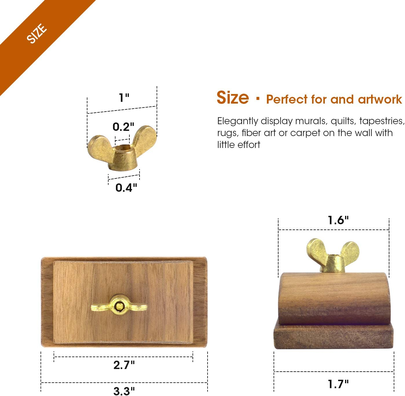 3.3 x 1.7 inches Four Walnut Wood Quilt Hang-Ups Clamps Clips Large