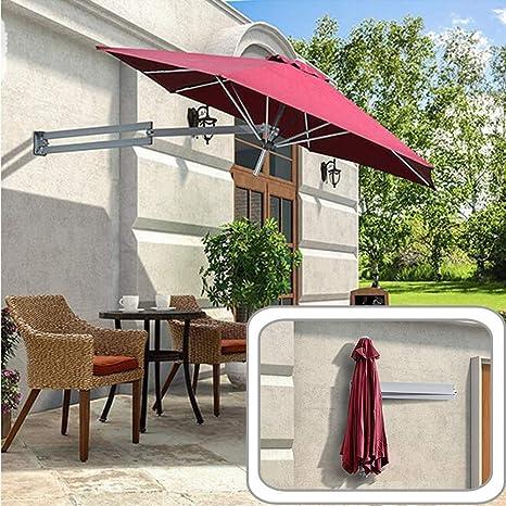 ZXYY Sombrilla para Patio al Aire Libre en voladizo de Montaje en Pared 220 x 220 cm Aluminio Redondo Ajustable inclinable con Soporte de Pared: Amazon.es: Deportes y aire libre