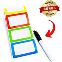 "Name Tag Stickers Labels Colorful 250 Ct Adhesive Backed Rolls – 3.5"" x 2.25"" with Red, Green, Yellow and Blue Borders Bonus Permanent Marker Included Sticks Strong, Yet Removes Easily"