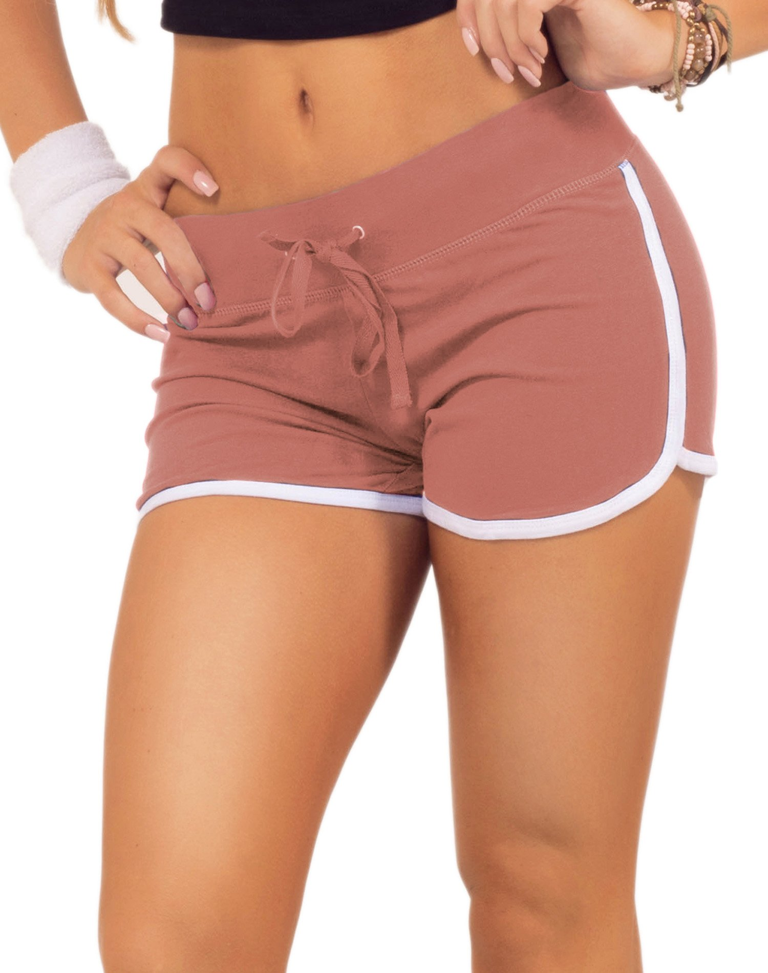 HOT FROM HOLLYWOOD Women's Elastic Waist White Outline Active Lounge Shorts