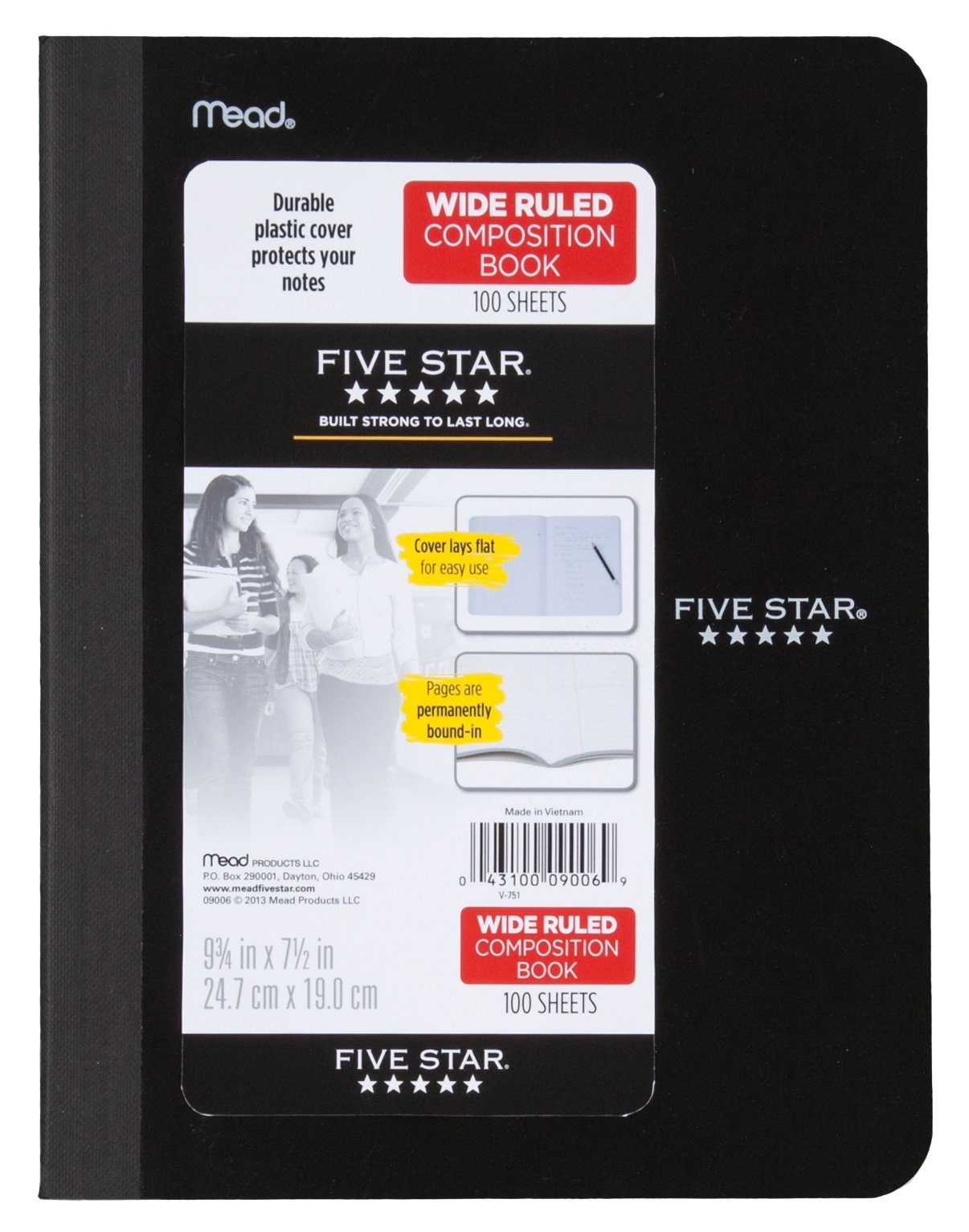 "Five Star Composition Book/Notebook, Wide Ruled Paper, 100 Sheets, 9-3/4"" x 7-1/2"", Color Selected For You, 1 Count (09006)"
