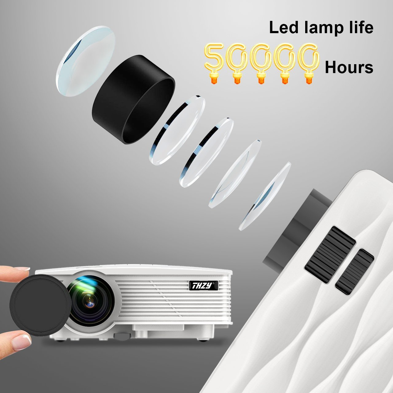 THZY Mini Projector 2200 Lumens Portable Video Projector,50000 Hours Multimedia Home Theater Movie Projector 1080P Support,Compatible with Amazon Fire TV Stick HDMI,VGA,USB,AV,Laptop,Smartphone by THZY (Image #7)