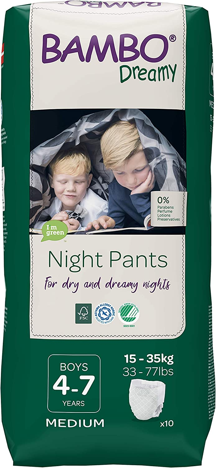 Bambo Nature Bambo Nature Eco Friendly Dreamy Night Pants for Boys 4-7 Years (33-77 Lbs), 10 Count