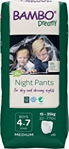 Bambo Nature Dreamy Boy Premium Night Pants, Aged 4-7 Size Medium (33-77 lb/15-35 kg) 6 x Pack of 10 (Case Saver)