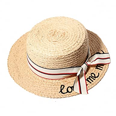 ae645f1023e Women Summer Straw Hats Embroidery Flat Sun Hats Ladies Raffia Bow-Knot  Beach Caps Chapeau