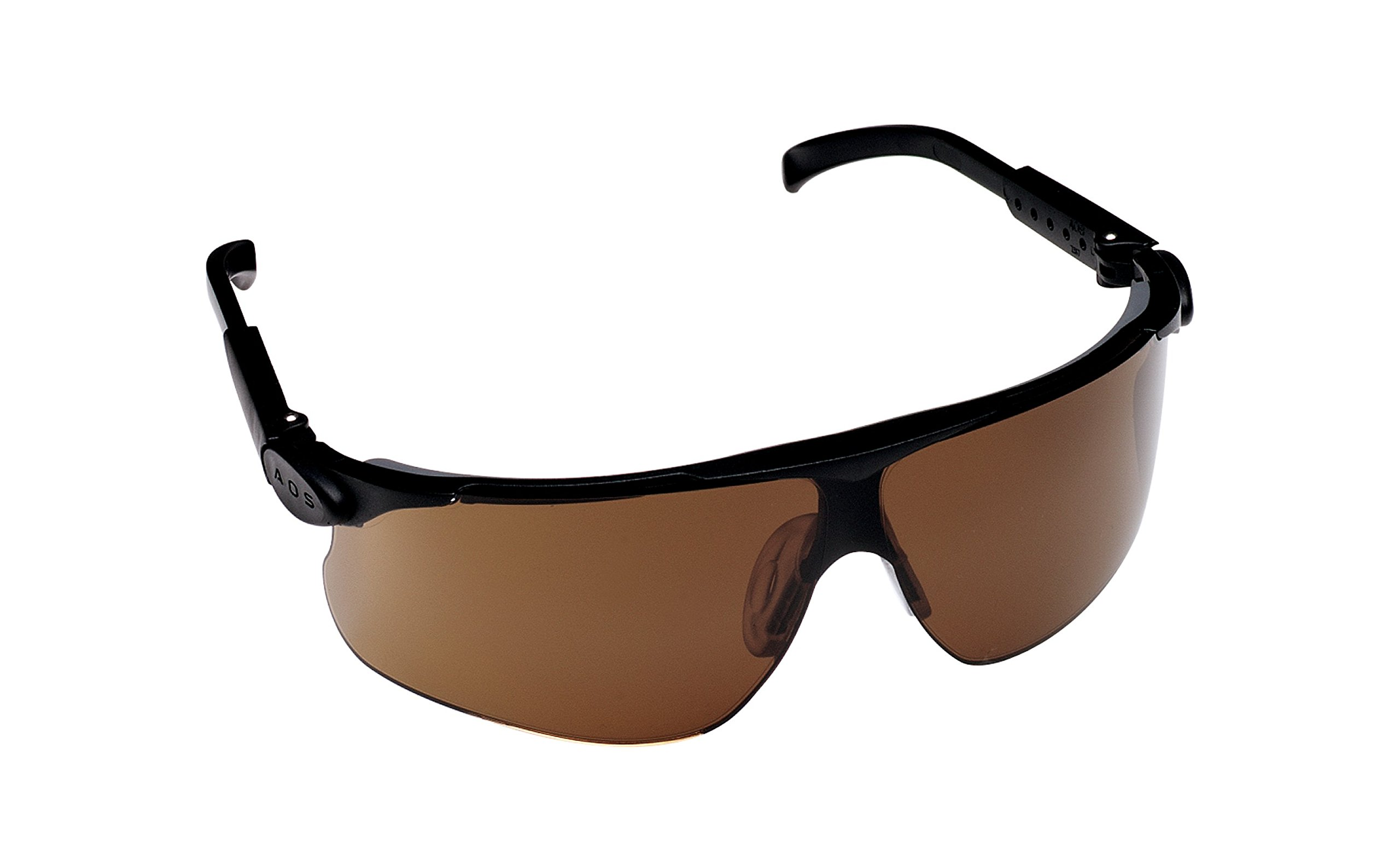 3M 13251 Maxim Adjustable Temple Safety Glasses, Black Frame, Bronze Lens