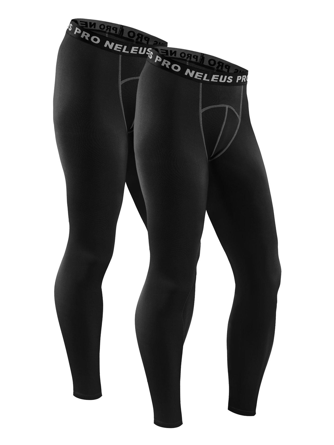 Neleus Men's 2 Pack Compression Tights Sport Running Leggings Pants,6026,Black,S,EUR M