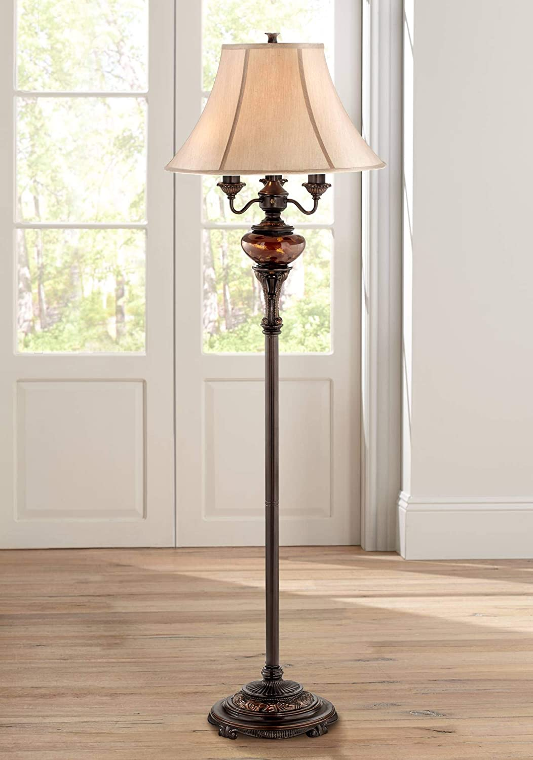 Traditional Floor Lamp 4-Light Lush Bronze Tortoise Glass Font Bell Shade for Living Room Reading Bedroom Office – Barnes and Ivy