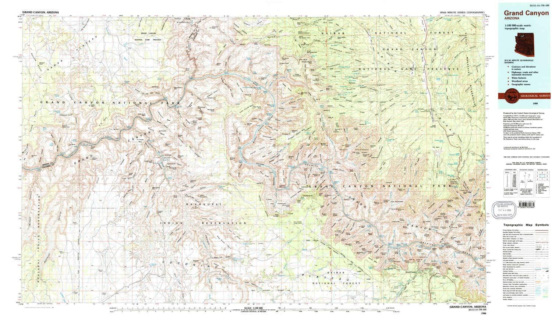 Topographic Map Grand Canyon.Amazon Com Yellowmaps Grand Canyon Az Topo Map 1 100000 Scale 30