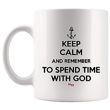 Amazon.com: Keep Calm Remember Spend Time With God Pray Coffee Mug ... #coffeeTime