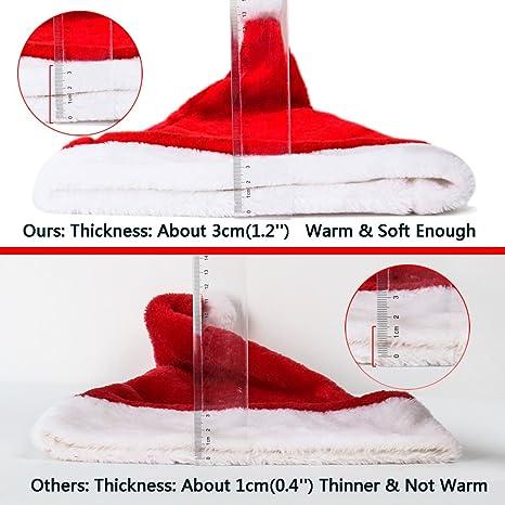 Cusfull morbido peluche cappello di Babbo Natale con comoda fodera cappelli  di Natale per adulti e bambini 3b48fb4023e7