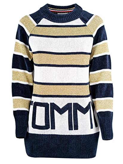 d26db7fb Tommy Hilfiger Women's Icons Tamarah Logo Stripe Jumper Gold: Amazon.co.uk:  Clothing