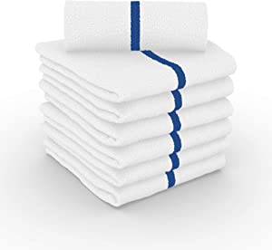JMR Standard Quick-Dry Kitchen Bar Mop Cleaning Towels for Home, Gym, Automotive use (12/24 Pack)… (12, Blue Stripe)