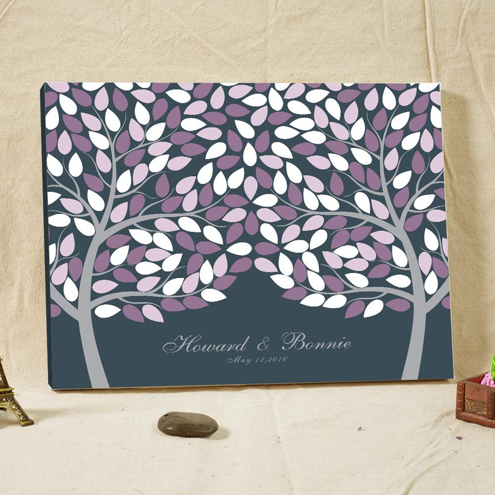 Personalized Wedding Guest Book Double Tree Poster Signature Guestbook Alternative 16x20 Inches Purple and White Life of Tree with 100 Leaves Canvas Print Custom Wedding Gifts Anniversary Party Gifts