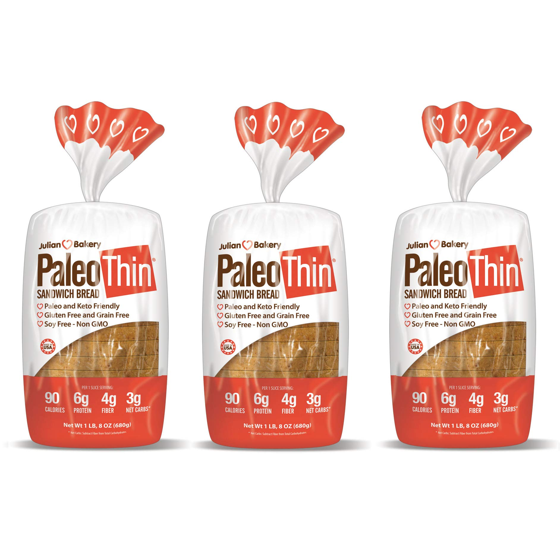 Paleo Thin Sandwich Bread (New) Gluten-Free Low Carb (3 Net Carbs) 6g Protein (16 Slices 1.5 Lbs) (3 Pack) by Julian Bakery