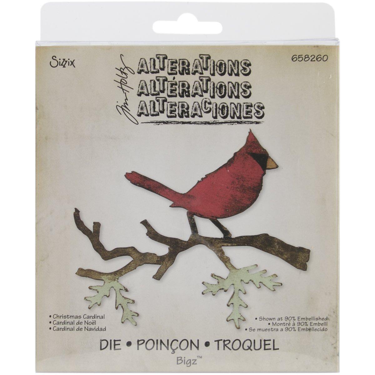 Sizzix 658260 Bigz Die Christmas Cardinal Scrapbooking Die Cut by Tim Holtz