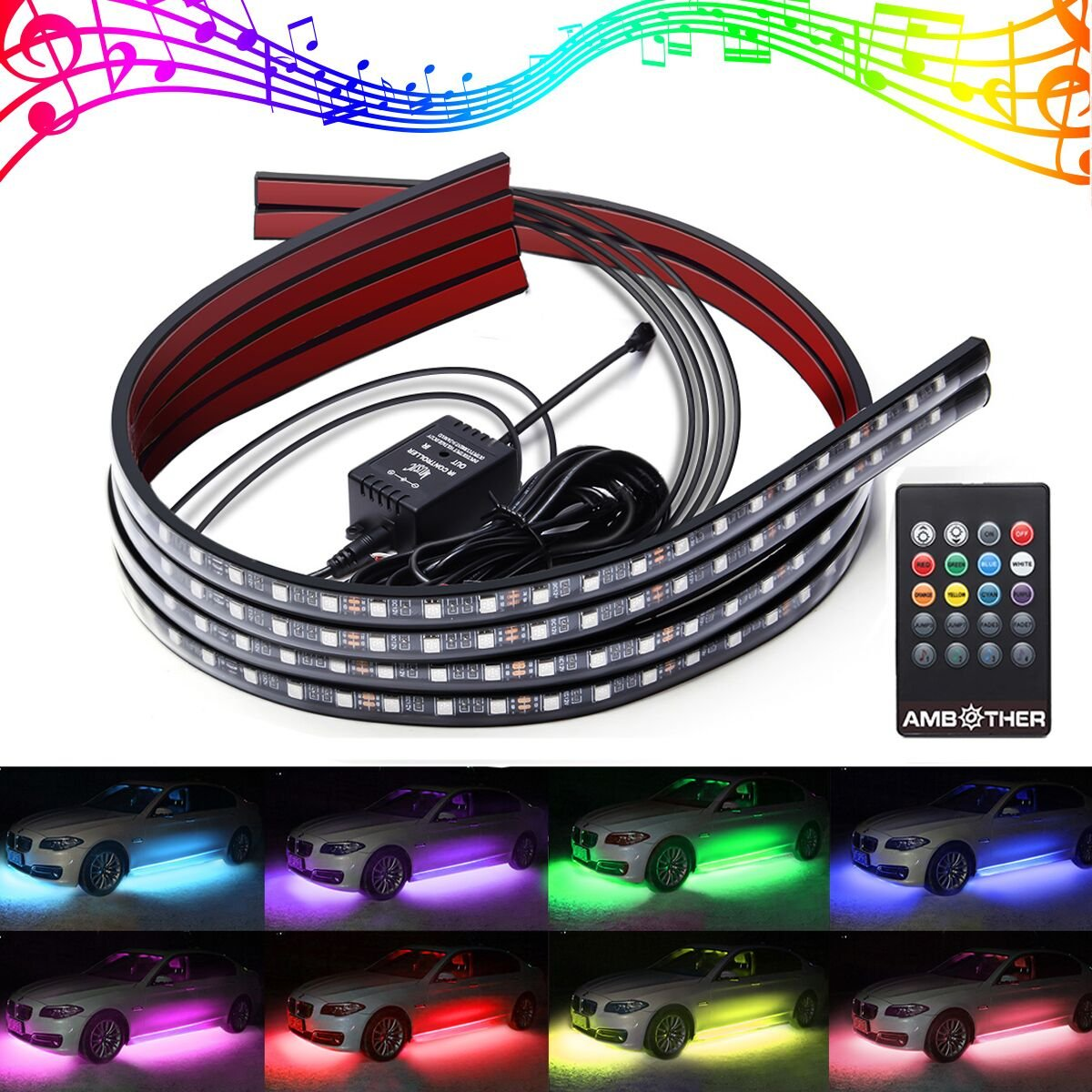 AMBOTHER 4 units 7 Colour LED Under Car Neon Exterior/Interior Light Strips DC 12 V Wireless RGB LED Strips under Car Lamp Lighting Atmosphere Decorative Lamp with Remote Control