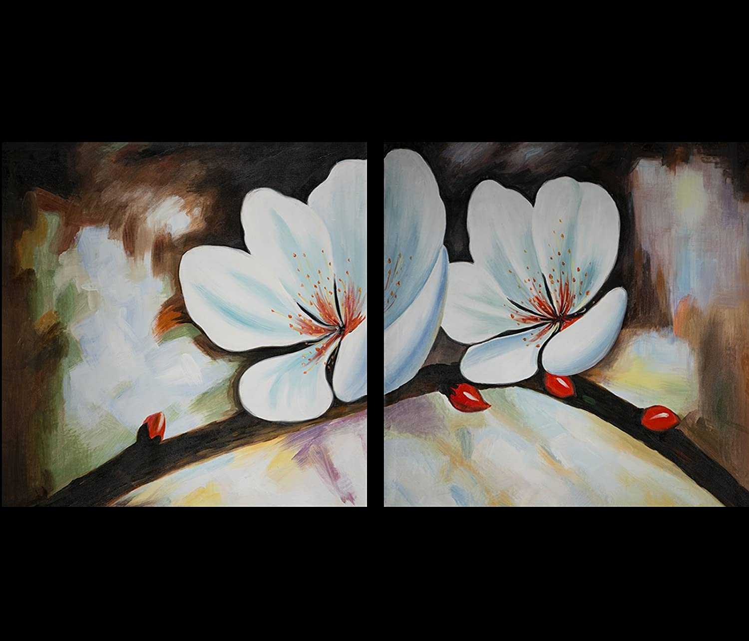 Amazon Com Original Feng Shui Abstract Art Yin Yang Flower Oil Painting 66 Fengshui Paintings Com Paintings