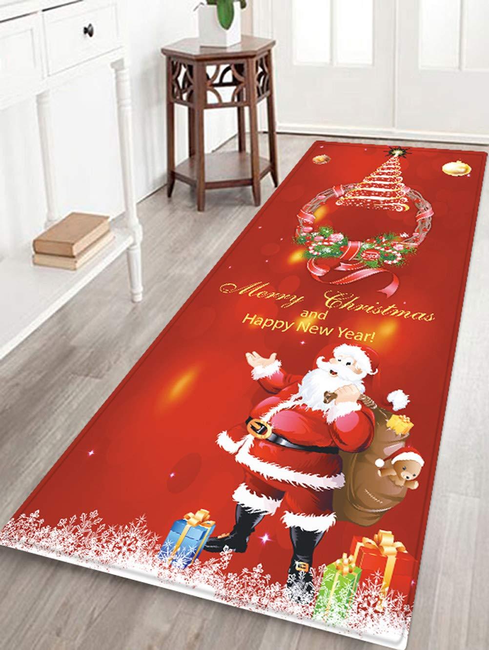 WSHINE 15.7 47.2 Red Christmas Decor Floor Runner Rug Kitchen Mats Indoor Outdoor Doormat Window Room Bath Mat