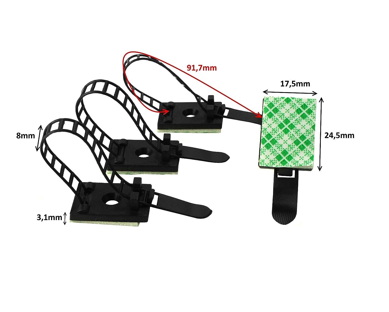 50x Auto Kabelhalter Kabelbinder Clip Kabelklemme Kabelschelle Selbstklebend DE