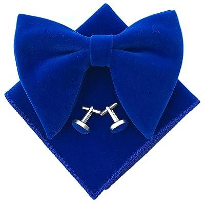 New in box formal men/'s pre tied Bow tie /& Pocket Square Hankie Velvet Burgundy