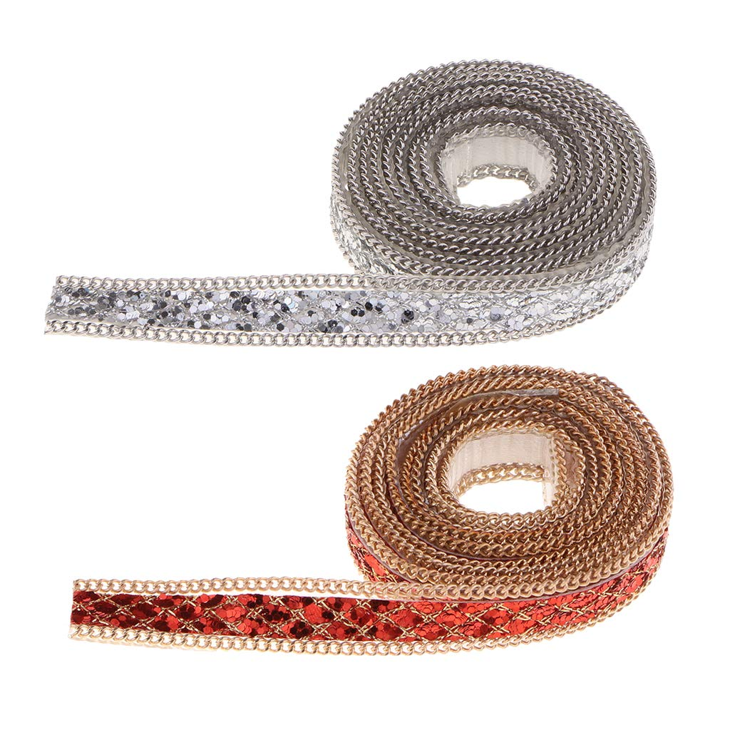 Red Prettyia 1 Yard 10mm Beaded Rhinestone Iron On Applique Lace Trim for Clothes Dress DIY Craft