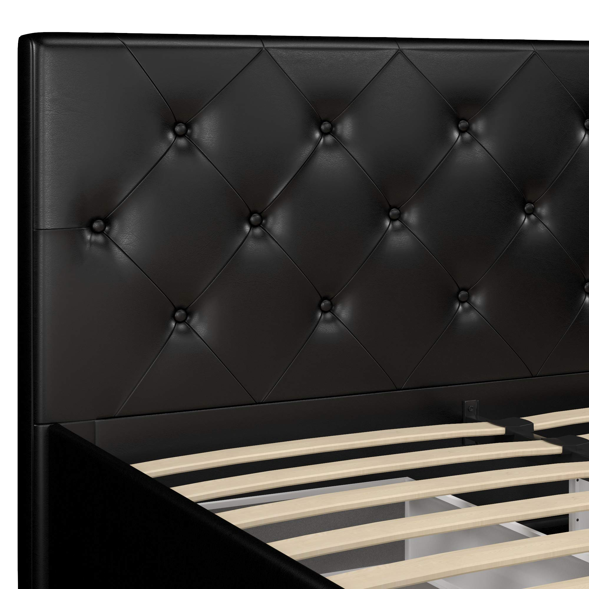 DHP Dakota Upholstered Platform Bed with Storage Drawers, Black Faux Leather, Queen by DHP (Image #13)