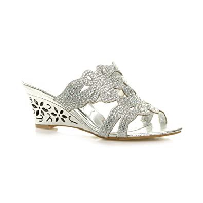 b3a39d189b3eb WOMENS LADIES MID HEEL CUT OUT WEDGE FLOWER DIAMANTE SANDALS SLIPPERS SIZE  3 36
