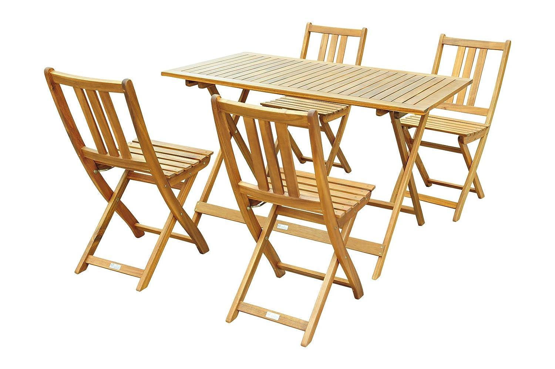 XXS® Gartengruppe | Gartenmöbel | Balkongruppe | Massives Akazienholz | FSC® 100% zertifiziert | 1 x Tisch + 4 x Stühle | klappbar | 5 tlg. [521409]